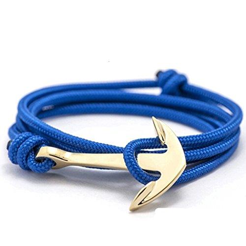 en und Damen | Sailbrace | Anker Armband | Armband | Accessoire Männer | Anchor | moderne Kette für Herren und Damen (Blau Gold) (Gold-farbe-kombination)