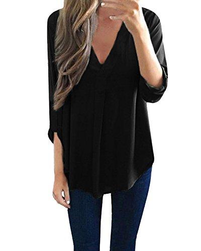 StyleDome Damen Locker V-Ausschnitt Lange Ärmel Solide Unregelmäßigen Bluse Schwarz 38-40