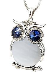Le Premium ojos grandes Colgantes búho cadena larga collares vientre ojo de gato azules ojos de cristal