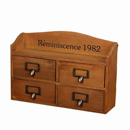 Bathroom Shelf Wooden Drawer Storage Box Hand made Old 2 Grid , Retro Color , 2 Layer