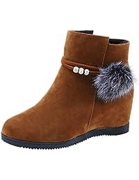 Stiefel Damen Freizeitschuhe Frauen Wildleder Haarballen Boots Round Toe  Wedges Schuhe Warm Bleiben Stiefel Reißverschluss Mode 4f0861ed07