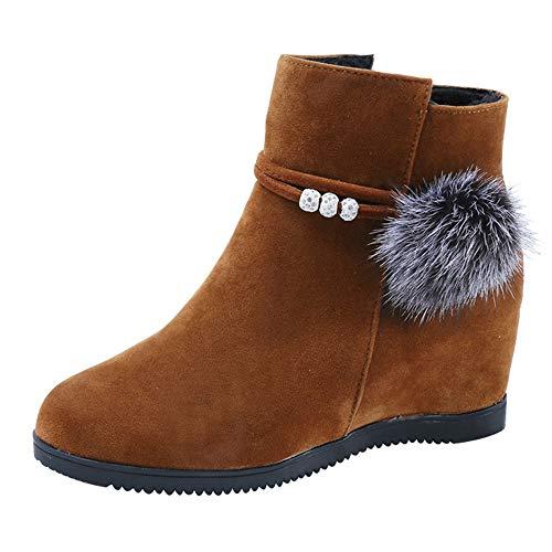 UFACE Frauen Wildleder Haarballen Round Toe Wedges Schuhe Reine Farbe Reißverschluss Stiefel (Braune Slouch-stiefel Frauen)