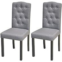 Festnight 2er Set Essstuhl Stühle Esszimmerstühle Mit Stoffbezug  Küchenstühle Sitzgruppe Dunkelgrau