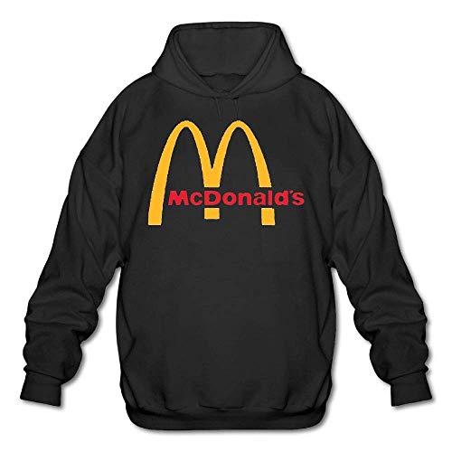 Herren McDonalds Logo Sweatshirt Tee Shirts Tshirt Langarm Baumwolle T Shirt für Herren Jugend Jungen Pullover Hoodie Schwarz S -