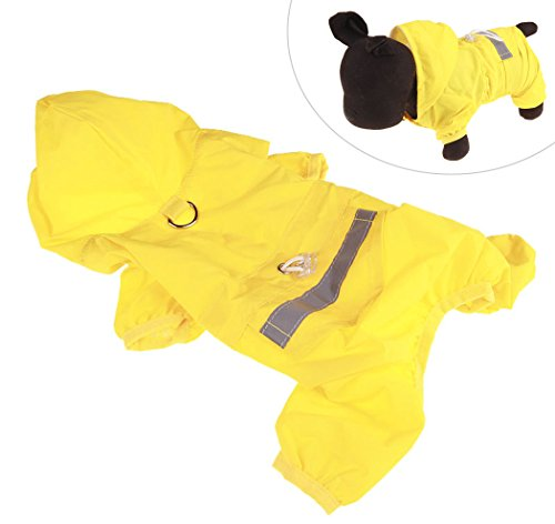 Xiaoyu chaqueta impermeable para perro de mascota con chubasquero impermeable y tiras reflectantes de seguridad ajustables para perro, Amarillo, XXL