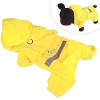 Xiaoyu chaqueta impermeable para perro de mascota con chubasquero impermeable y tiras reflectantes de seguridad ajustables para perro, Amarillo, XL