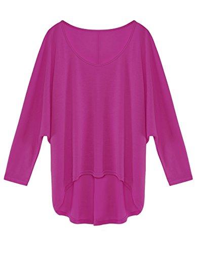 CRAVOG 2016 Nouvelle Top Manche Batwing Longue Blouse Col O Haut Casual Shirt pour Femme Lilas