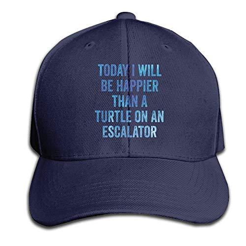 akingstore Heute werde ich glücklich Schildkröte Snapback Sandwich Cap Navy Baseball Cap Hüte Einstellbare emaillierte Trucker Cap (Schildkröte-baseball-cap)