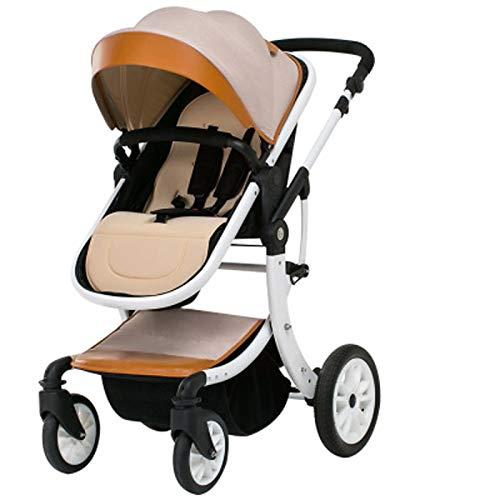 Lincjly Cochecito de bebé de lujo 2 en 1 con capazo separado Material de cuero de PU combinado 360 Grados Rotación Alto cochecito de bebé Paisaje Carrito for recién nacido (Color : F)