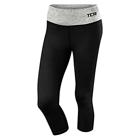 Women's TCA Pro Performance Supreme Running Capri Tights / Leggings - Black/Marl Grey L