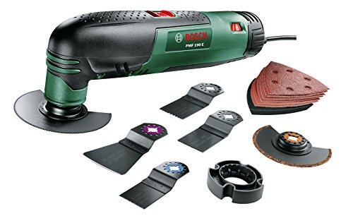feinsaege elektrisch Bosch DIY Multifunktionswerkzeug PMF 190 E Set, Säge- und Schleifblatt-Set, Tiefenanschlag, Koffer (190 W, 15.000-21.000 min-1 Leerlaufdrehzahl)