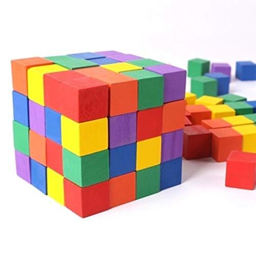 Cuadrados 100 piezas de madera Cubos de 1 a 6 cm Color Cubos...