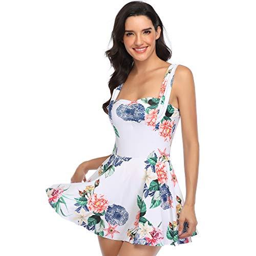 TwoCC Frauen \'S Zweiteilige Tankini Set Badeanzug Mit Bottoms Plus Size Floral Bedruckte Bademode Badeanzüge Badeanzüge(Weiß,XL) (Weiß, XL)