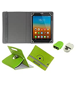 Gadget Decor (TM) PU Leather Rotating 360° Flip Case Cover With Stand For Iball Q404 + Free Robot USB On-The-Go OTG Reader - Green