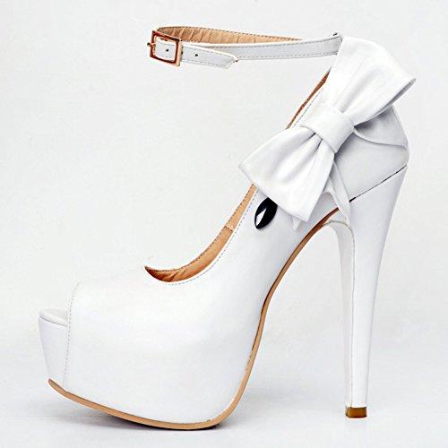 Kolnoo Damen Faschion 14cm Knöchelriemen Schmetterlings Deko Blick Zehe Absatz Plattform Pumpen Schuhe White