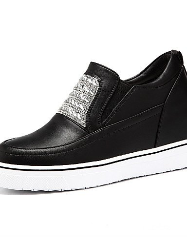 ZQ Scarpe Donna-Sneakers alla moda-Ufficio e lavoro / Formale / Casual-Creepers-Piatto-Finta pelle-Nero / Bianco , white-us8 / eu39 / uk6 / cn39 , white-us8 / eu39 / uk6 / cn39 black-us8 / eu39 / uk6 / cn39
