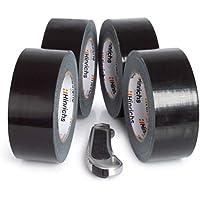 Hinrichs 4 rollos de cinta americana 50m, cinta adhesiva, negro - para interiores y exteriores - 50 m x 50 mm - cúter gratis