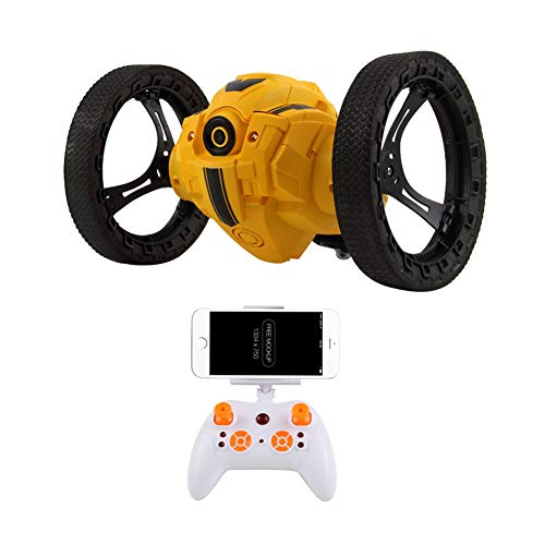 MKYVERAY Stunt Coche Teledirigido Coche RC Doble Lado Rotación de 360 Grados de Alta Velocidad Control Remoto Coches 2.4GHz para Niños/Adultos,Cámara WiFi HD,Yellow