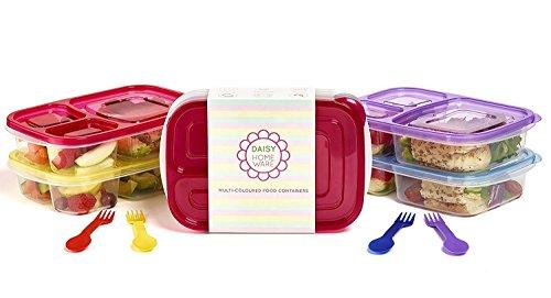 [Packung mit 6] Mehrfarbig Umweltfreundlich 3 Fach Brotdose Behälter mit farblich passendem Löffel und Gabel, Mikrowellengeeignet, Spülmaschinenfest und Wiederverwendbar von Daisy Homeware