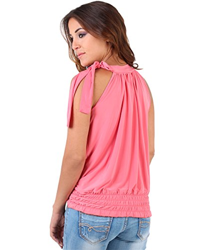 KRISP Damen Neckholder Bluse mit Schleife Rosa (Koralle 17)
