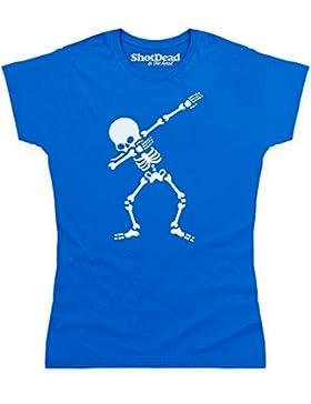Shotdeadinthehead Dabbing Skeleton Camiseta, para Mujer, Azul Real, L