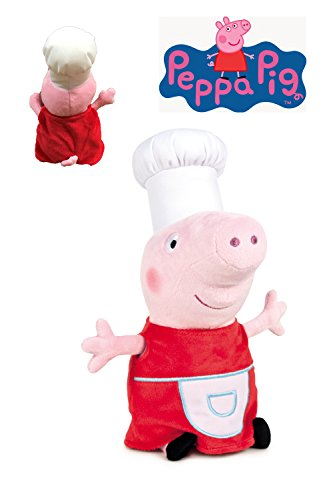 Peppa Pig - Peluche Peppa disfrazada de cocinera 20cm - Calidad super soft