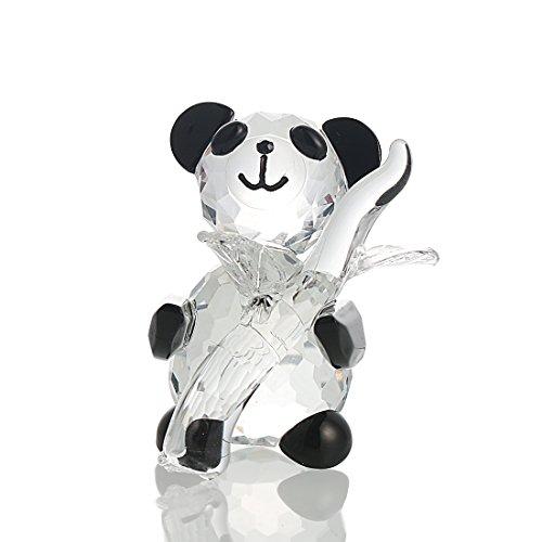 ristall Briefbeschwerer Tiere Facet Handgefertigt Hält Panda mit Bambus Figuren Glas Hochzeit Geschenke ()