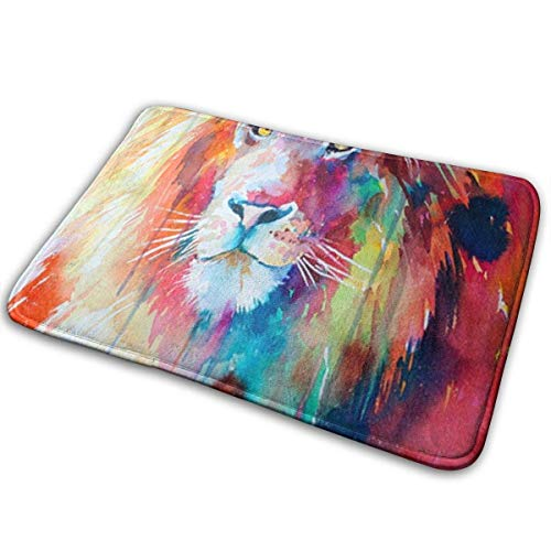 t Colorful Lion Entrance Rug Non-Slip Stylish Outdoor Indoor Entry Carpet for Patio Kitchen Inside Floor Porch Garage High Traffic Areas ()