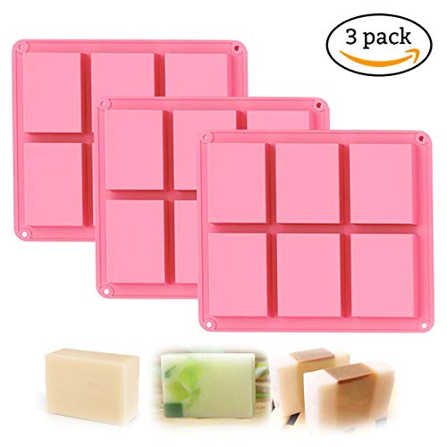 Silicone Soap Mold, 6 Cavity DIY Soap Molds, Rectangle Baking Mold Cake Pan Biscuit Chocolate Mold, Ice Cube Tray, Premium Silicone Soap Bar and Resin Mold for Homemade Craft,3packet