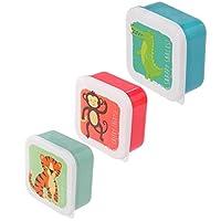Set da 3 scatole scatoline portapranzo porta pranzo per bambini design Animali dello zoo Plastica Dimensions: Large 5.5x11.5x11.5cm Medium 4.5x10x19cm Small 4x8.5x8.5cm