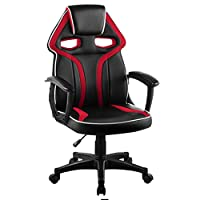 LANGRIA High Back Racing Style Faux Leather Executive Computer Gaming Office Chair, Well Padded Footrest Lumbar Cushion, Ergonomic Reclining Design, Adjustable Height, (Black Red)