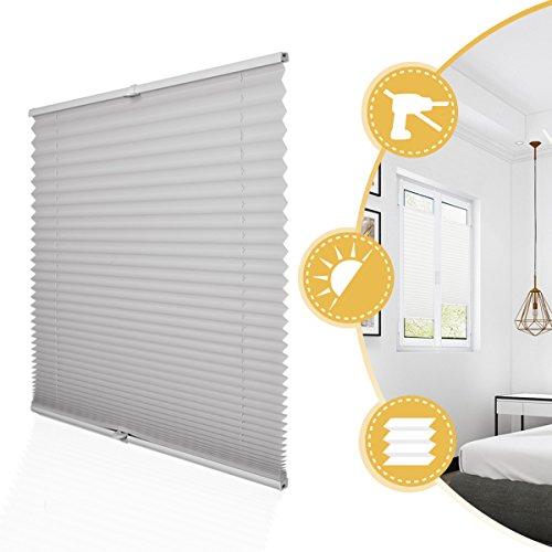 Deswell Plissee Rollo Jalousie ohne Bohren Klemmfix für Fenster & Tür Hellgrau 105 x 200 cm, Plisseerollo Stoff Sonnenschutz leicht zu montieren & Verspannt
