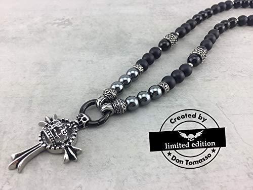 Kette Halskette Perlenkette im Style vieler Promis, schwarz black für Herren Männer Frauen Damen, mit oder ohne Anhänger Kreuz oder Totenkopf Skull K_119 (Pearl-kreuz-armband)