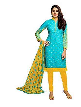 Oomph! Women's Cotton Dress Material (rbmf_6036_Azure Blue_Free Size)