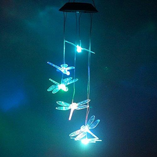 Solarbetriebenes, tragbares Windspiel mit LED-Beleuchtung, Farbwechsel, für Garten Terrasse, Deck, Hof