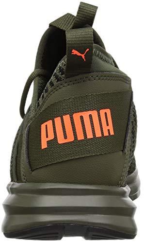 PUMA Men s Enzo Peak Sneaker  Forest Night Black-Shocking Orange  10 5 M US