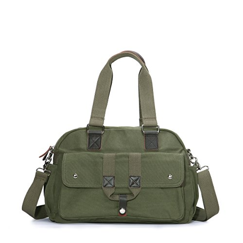 Eshow shoulder bag cross body bag Messenger Bag Briefcase Casual Canvas for Women/Men Armee grün