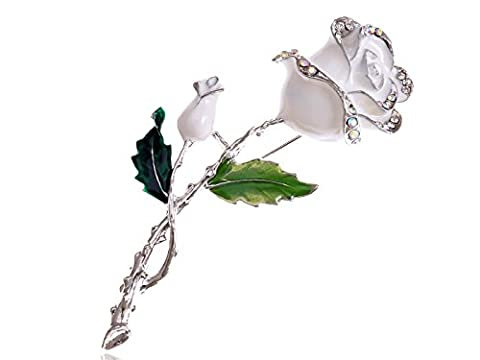 Alilang Silvery Tone White Green Romantic Rose Flower Stem Leaf