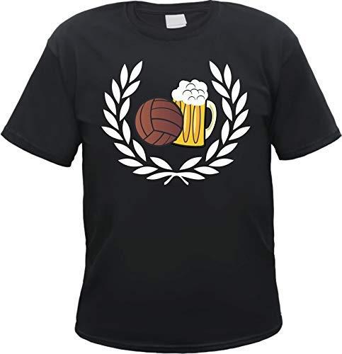 Lorbeerkranz Fussball Bier T-Shirt Schwarz XL -