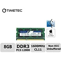 Timetec Hynix IC Apple 8GB DDR3 1600MHz PC3-12800 SODIMM Memory Upgrade For MacBook Pro 13-inch/15-inch Mid 2012, iMac 21.5-inch Late 2012/Early 2013,27-inch Late 2012/ 2013,Retina 5K Display Late 2014/Mid 2015,Mac mini Late 2012/ Server (8GB)