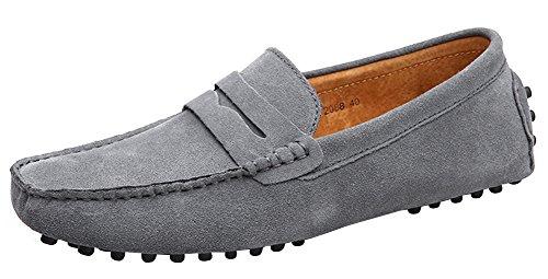 Yaer Classic Scarpe da uomo mocassini Slip On Penny Loafers (Grigio EU41)