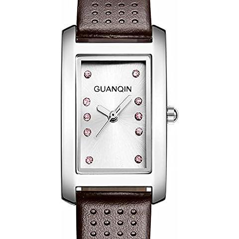 downj da donna marca rettangolo quadrante orologio da polso al quarzo Donna Casual Cinturino In Pelle Marrone