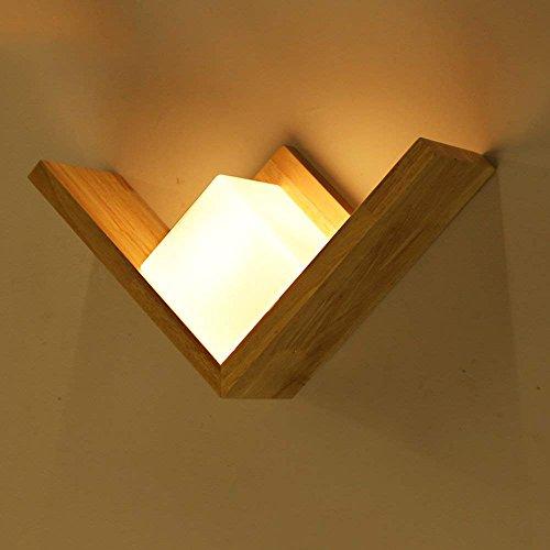 HAIZHEN Kreative einfache LED-Wandleuchte aus massivem Holz Treppe Eingang Zaun Wandleuchte Schlafzimmer Lampe Nachttischlampe
