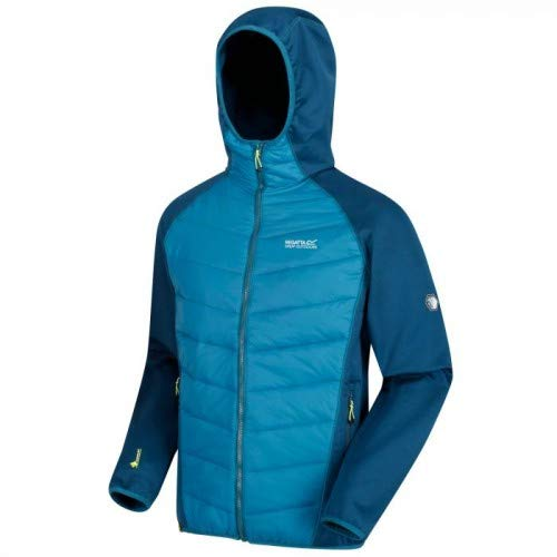 Regatta Herren Andreson IV Insulated Water Repellent Stretch Hybrid Hooded Down Jacke, Majolica/Sea Blue, L Jacke Herren Insulated Jacken