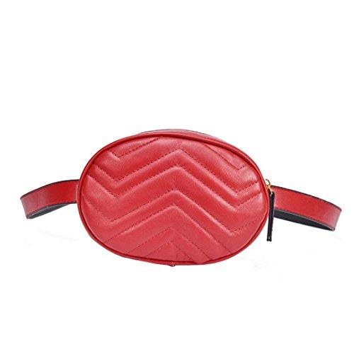 VJGOAL Damen Bauchtasche, Damen Mode Solide Reine Farbe Leder Messenger Schulter Urlaub Arbeit Brust kleine Taschen (Rot) (Kleider 7-16 Mädchen Frühjahr)