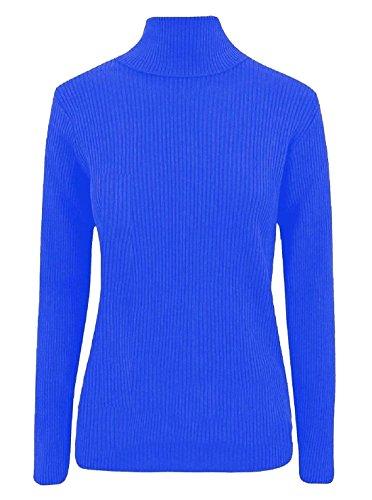 Damen-Pullover mit Rollkragen, gerippt, lange Ärmel Gr. Small/Medium(34-36), königsblau -