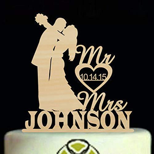 Hochzeit Silhouette Kuchen Topper, Mr und Mrs Kuchendeckel, Benutzerdefinierte Herr und frau Nachnamen Hochzeitstorte Topper, paar mit Braut und Bräutigam