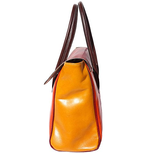 BORSA A SPALLA COLORATA CON DOPPI MANICI IN PELLE CONCIATA AL VEGETALE 6553 Arancio-rosso-giallo