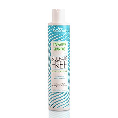 Belle Azul feuchtigkeitsspendendes Shampoo, Mit Keratin und pflanzlichen Wirkstoffen angereichert um das Haar von der Wurzel an wirksam zu stärken, Paraben- salz- und sulfatfrei, 250ml. -