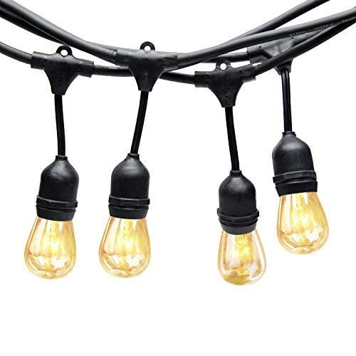 Generalman 48ft Heavy Duty Commercial Weatherproof Outdoor String Lights with 15 Edison Vintage Bulbs, Perfect for Patio, Garden, Homes, Wedding,Cafe, Festoon Party Decoration (15+3 Bulbs Included)